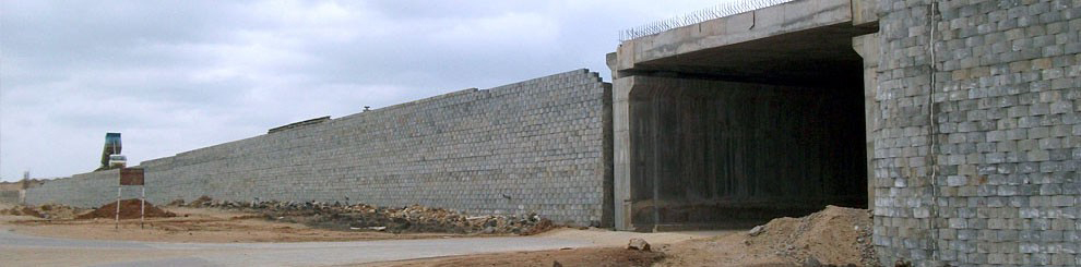 Reinforced Soil Retaining Wall(block)/Eight lane Expressway as Outer Ring Road to Hyderabad in A.P. for Ramky Infrastructure Limited